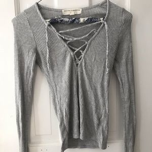 Rubbed Lace-up Long Sleeve